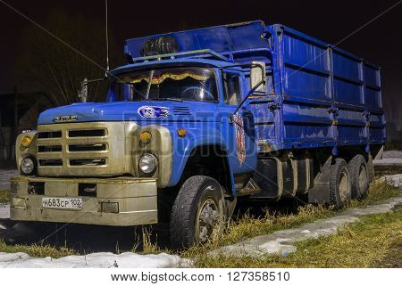 REIFKA - RUSSIA 27TH MARCH 2016 - Classic ZIL 131 Russian truck in blue offers citizens and alternative to other popular Russian vehicles for industry inn Refika Russia on the 27th of March 2016.