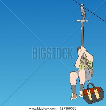 An image of a male zip line rider front view.