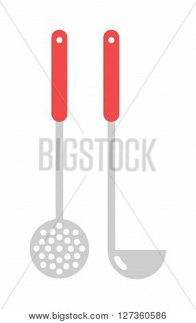 Set of kitchen metal ladle and cooking kitchen ladle. Kitchenware utensil cooking tool domestic steel stainless kitchen ladle equipment. Kitchen ladle cooking equipment flat vector illustration.