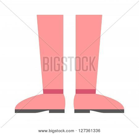 Womens red modern boots and elegance womens red boots. Glamour womens red boots stylish original design new fashionable accessory. High boots beautiful shoes fashion style footwear cartoon vector