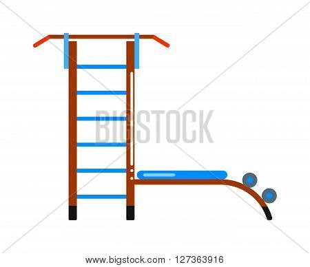 Gymnastics wall bars ladder with horizontal bar. Swedish staircase sports gymnastics ladder, gymnastics wall gym tool. Sports ladder trainer wall exercises gymnastics ladder and wall bars vector.
