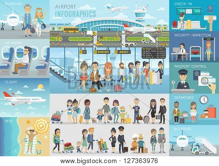 Airport Infographic set with charts and other elements. Vector illustration.