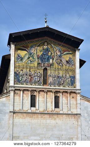 Medieval golden mosaic with the Ascension of Christ the Saviour and apostles from romanesque Basilica of San Frediano in the historic center of Lucca (13th century) poster