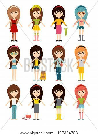 Funny cartoon girls cute female young woman happy character set vector illustration. Cartoon funny girls and cartoon girls characters set. Smiling beautiful cartoon girls collection. Fashion girls.