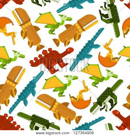 Colorful pattern of seamless dinosaurs and prehistoric animals with herbivores stegosaurs and carnivorous pterodactyls, tyrannosaurs, pliosaurs and liopleurodons on white background. Use as wildlife evolution theme or children wallpaper design poster