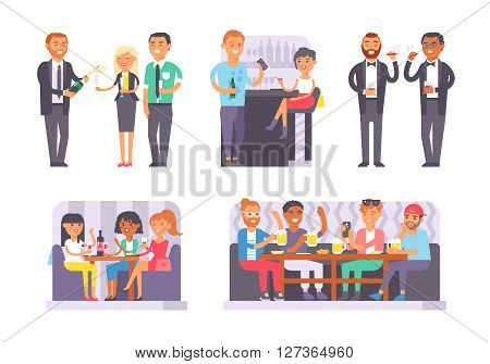 Group of friends enjoying evening drinks in bar alcohol people character vector illustration. Drunk people party and bachelorette party. Bachelor party alcohol people nightlife drunken leisure.