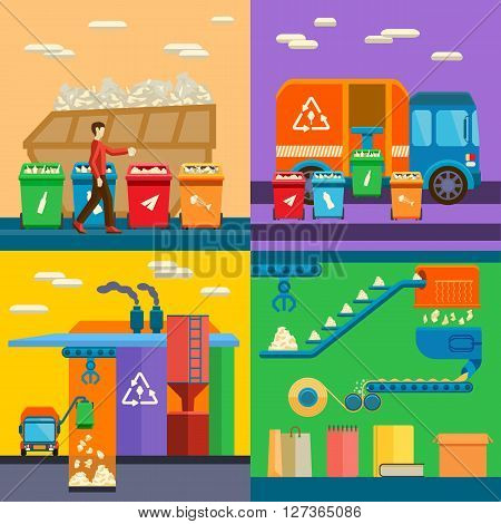 Waste sorting garbage recycling environment flat style vector illustration. Garbage recycling environment waste sorting and ecology pollution waste sorting. Recycle waste sorting concept management.