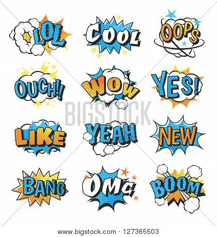 Collection of multi colored comic speech bubble boom effects vector. Bubble boom speech and pop explosion bang bubble boom. Communication cloud fun humor book splash element abstract funny balloon.