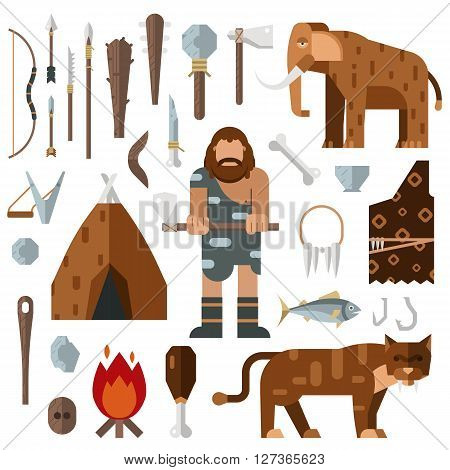 Life stone age caveman cave bonfire mammoth bone vector. Caveman weapon spear stick stone. Caveman cartoon action neanderthal evolution. Prehistoric stone age presenting life cavemen primitive tools
