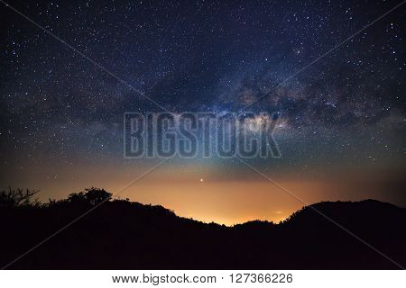 Milky Way Galaxy at Doi Luang Chiang Dao high mountain in Chiang Mai Province Thailand. Long exposure photograph. With grain