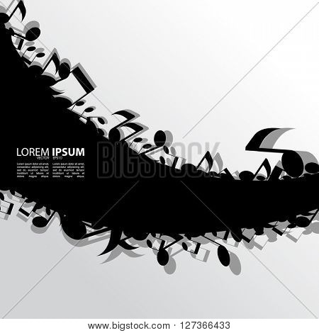 eps10 vector blank black frame, scattered musical notes elements