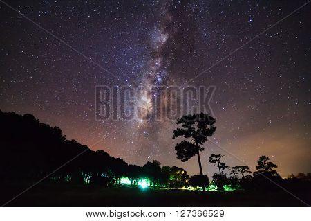 Milky Way Galaxy At Phu Hin Rong Kla National Park,phitsanulok Thailand. Long Exposure Photograph.wi