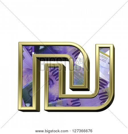 Sheqel sign from swiss franc bill alphabet set isolated over white. 3D illustration.