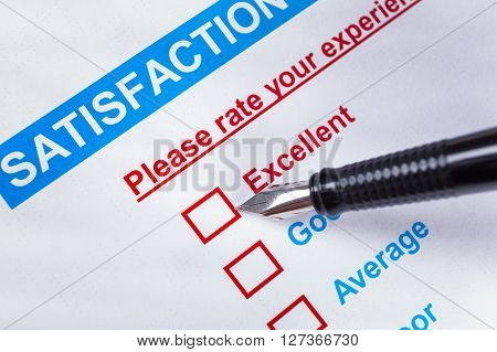 Customer Satisfaction Survey Checkbox With Rating And Pen Pointing At Excellent, Can Use Any Busines