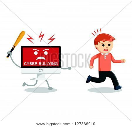 Man run away from cyber bullying  .eps 10 vector illustration flat design