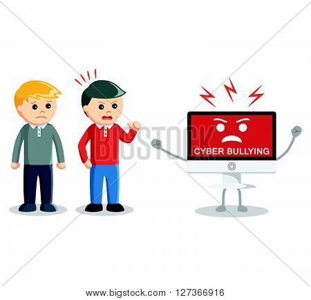 Man protecting from cyber bullying  .eps 10 vector illustration flat design