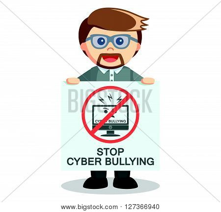 Teacher showing banner to stop cyber bullying  .eps 10 vector illustration flat design