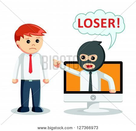 Cyber bullying attack  .eps 10 vector illustration flat design