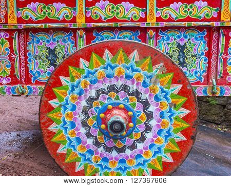 LA PAZ , COSTA RICA - MARCH 22 : Traditional decorated Costa Rican ox cart in La Paz Costa Rica on March 22 2016. This carts are UNESCO Masterpiece of the Oral and Intangible Heritage of Humanity