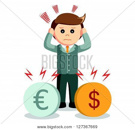 Business man trouble with euro and dollar  .eps 10 vector illustration flat design