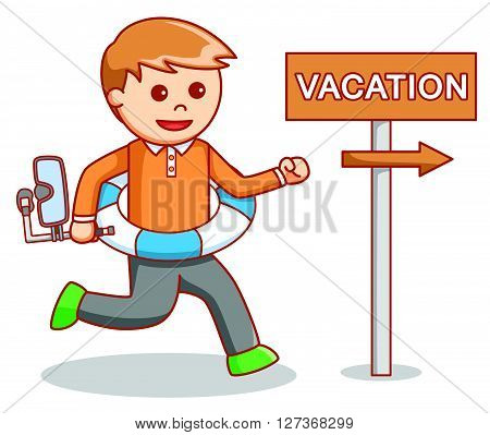 Business man going to vacation .eps10 editable vector illustration design