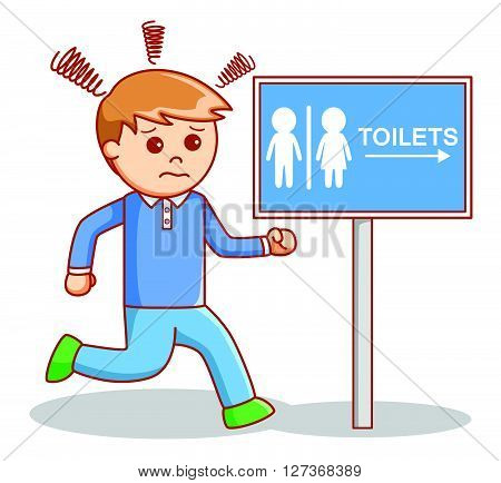 Man hurry toilet .eps10 editable vector illustration design