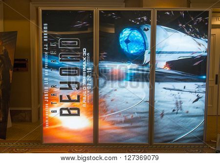 LAS VEGAS - April 13 : A display for the movie 'Star Trek Beyond' at Caesars Palace during CinemaCon the official convention of the National Association of Theatre Owners on April 13 2016 in Las Vegas