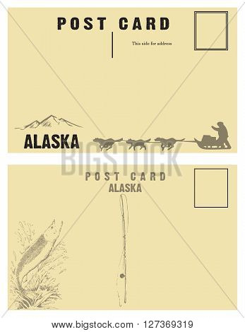 Vintage postcards for state of Alaska with retro illustrations.