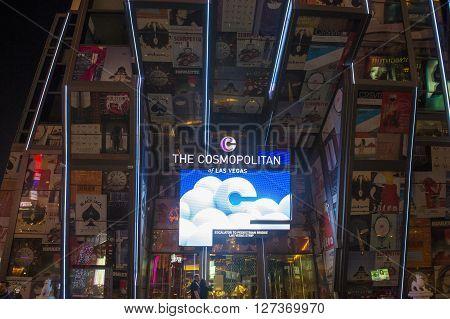 LAS VEGAS - APRIL 13 : The Cosmopolitan hotel in Las Vegas on April 13 2016. The Cosmopolitan opened in 2010 and it has 2995 rooms and 75000 sq ft casino.