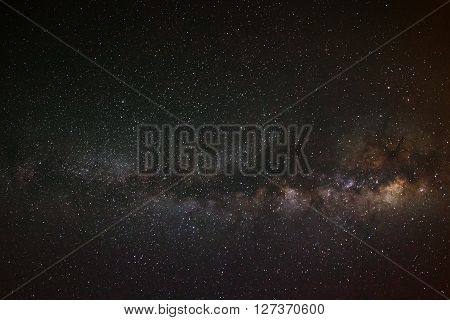 Milky Way Galaxy On A Night Sky,long Exposure Photograph, With Grain
