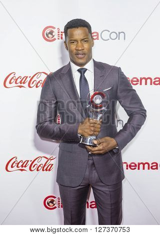 LAS VEGAS - APRIL 14 : Director Nate Parker recipient of the Breakthrough Director of the Year Award attends the CinemaCon Big Screen Achievement Awards at The Caesars Palace on April 14 2016 in Las Vegas