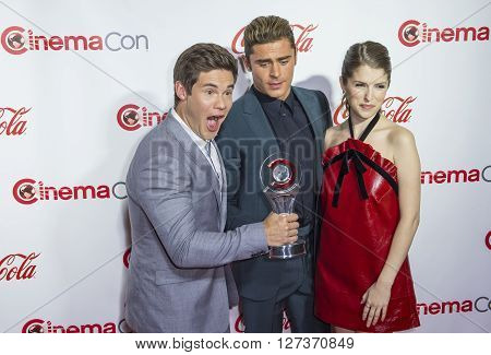 LAS VEGAS - APRIL 14 : (L-R) Actors Adam DeVine Zac Efron and Anna Kendrick recipients of the Comedy Stars of the Year Award attend the CinemaCon Big Screen Achievement Awards at The Caesars Palace on April 14 2016 in Las Vegas