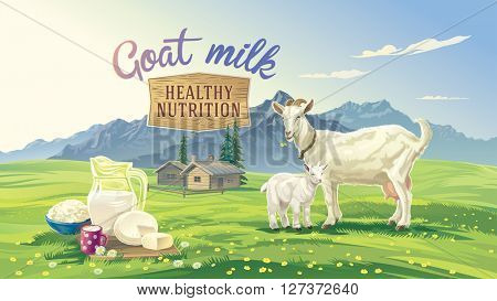 Mountain landscape with goat and kid. Set dairy product with village in background. Vector illustration.