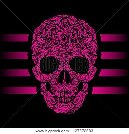 Floral pattern of form pink skull. Pink stripes. Emo