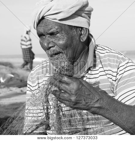 Indian Fisherman Kerala India Fishery Gulf Man Concept