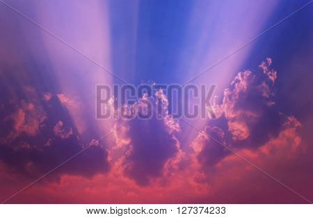 Abstract Colourful Blue Purple Pink Dreamy Sky With Romantic Soft Mood