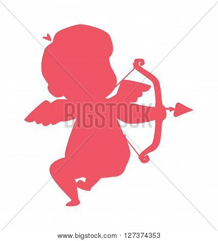 Silhouette of cupid valentine angel love child vector illustration. Cupid silhouette valentine art and little cupid silhouette design. Cupid silhouette wedding child invitation sign.