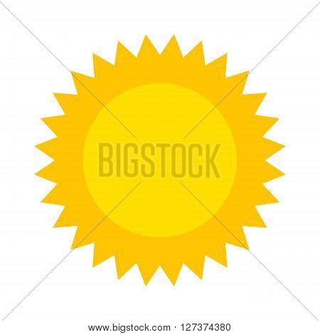 Vector sun icon isolated on white background. Sun Vector isolated, Sun summer icon design. Vector yellow sun symbol. Vector sun sun element. Sun icon on white, vector sun logo isolated. Vector sun