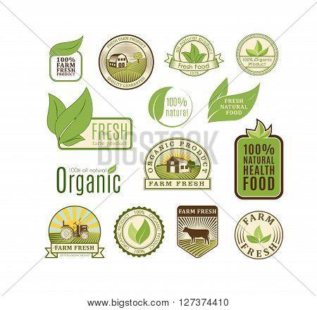 Eco badge organic food vector illustration. Eco badge organic food isolated on white background. Eco badge organic food vector icon illustration. Eco badge organic food isolated vector. Eco badge