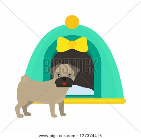 Illustration of dog house kennel pet animal puppy cute design vector. Cute dog house and domestic dog house design. Artistic cartoon dog house and pet dog house, puppy home.
