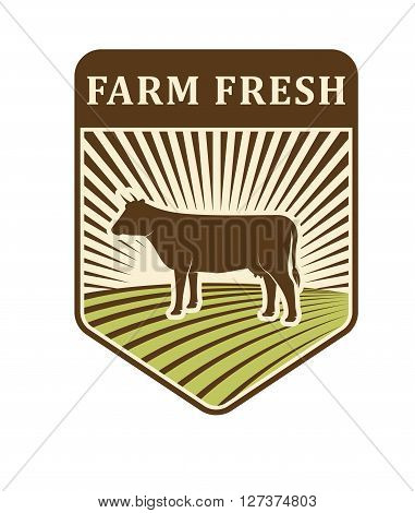 Nature fields retro farm logo label organic food production design agriculture symbol vector. Farm logo farming badge and farm logo natural organic icon. Farm logo bio organic field.