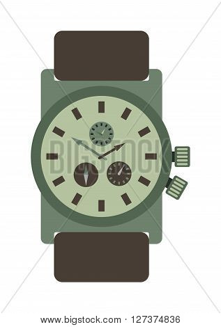 Military style watch with brown leather strap time design wristwatch instrument vector accessory. Military watch accessory and modern military personal quartz watch. Military watch leather strap.