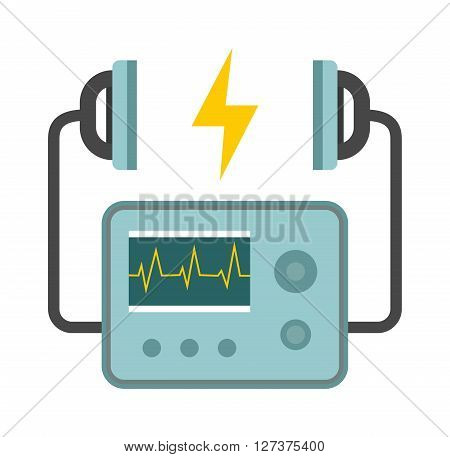 Defibrillator unit isolated medical, heart, cardiac, emergency equipment vector icon. Hart defibrillator equipment and hospital defibrillator. Resuscitation shock cardiology defibrillator care.