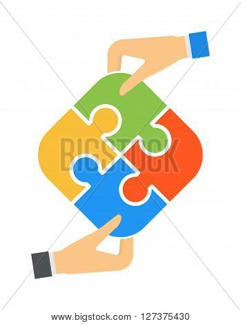 Hands and puzzle isolated solution business jigsaw piece concept vector. Hands and puzzle team concept. Human hands holding jigsaw puzzle strategy, teamwork connection. Puzzles hand challenge group.
