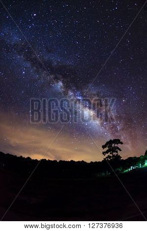 Milky Way At Phu Hin Rong Kla National Park In Phitsanulok Thailand, Long Exposure Photograph, With