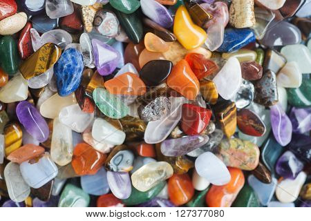 Set of processed South African gemstones of different types and kinds