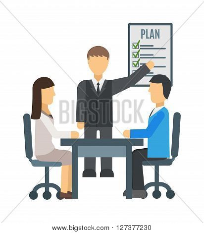 Training staff briefing presentation vector. Staff meeting, staffing and corporate briefing training, employee training, mentor and briefing people, business seminar briefing, meeting group briefing.