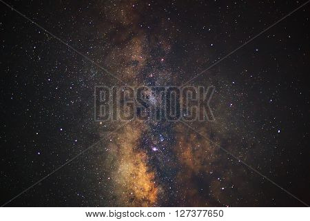 Close - Up Milky Way. Long Exposure Photograph,with Grain