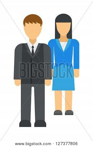 Workplace business discrimination issues vector illustration. Cartoon business men climbing corporate ladder with woman under business discrimination. Business female office discrimination.