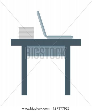 Office workplace work table with laptop and smart phone, wood space vector design. Work office table and work table computer notebook, workplace. Work table business interior design.